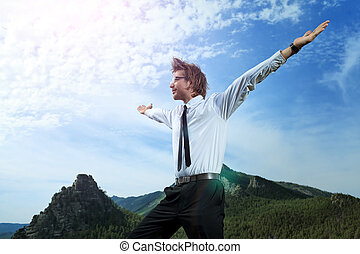 exultation - Successful business man standing on a peak of...