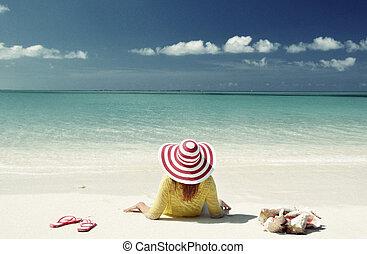 exuma, bahamas, flicka, strand, avkopplande