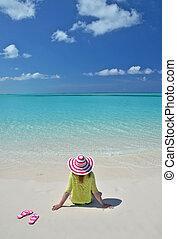 exuma, bahamas, grande, playa., niña