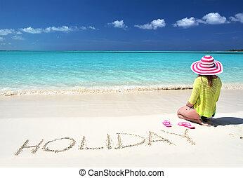 exuma, bahamas, meisje, strand, relaxen