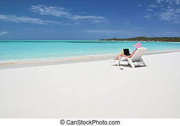 exuma, bahamas, scène, plage