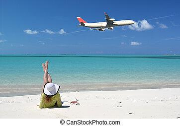 exuma, bahamas, scène, strand, groot