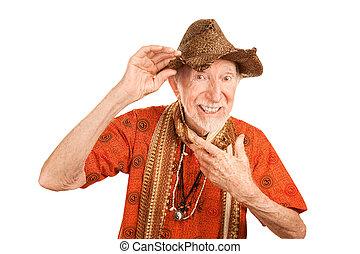 exzentrisch, älterer mann, in, strohhut