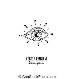eye., ésotérique, illustration, sauvage, magie, design., style, isolé