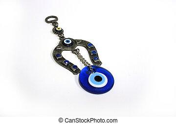 Human Eye amulet with icon and israel hamsa keyring.
