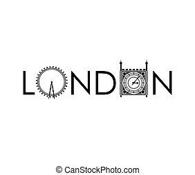 eye and big ben icon. United kingdom design. Vector graphic