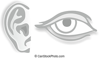 eye and ear - abstract drawings of an eye and an ear
