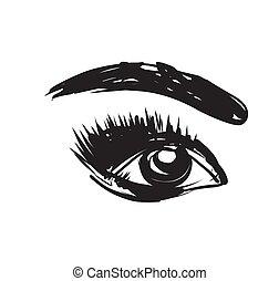 Eye and eyebrow sketch. Hand Drawn. Vector Illustration.