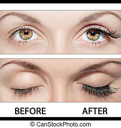 EYE AND FALSE EYELASHES - Close Beautiful eyes with natural...