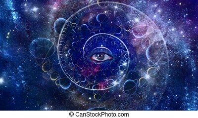 Eye and spiral of time. Space fractal animation