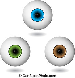 eye balls in three main colours isolated on white, vector...
