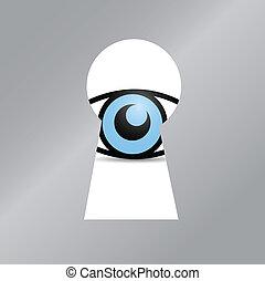 eye behind a key hole. illustration design