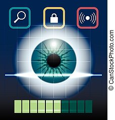 Eye Biometrics - Eye retina scan emblem. Virtual...