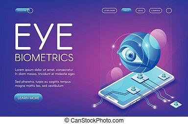 Eye biometrics technology vector illustration for personal...
