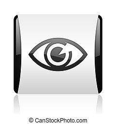eye black and white square web glossy icon