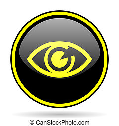 eye black and yellow glossy internet icon