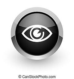 eye black chrome glossy web icon