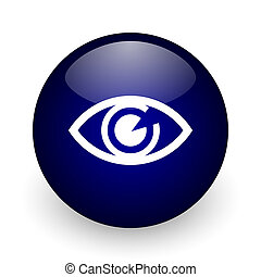 Eye blue glossy ball web icon on white background. Round 3d render button.