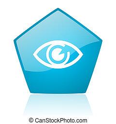 eye blue pentagon web glossy icon