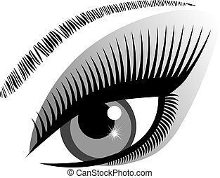 eye blue - vector eye with long lashes