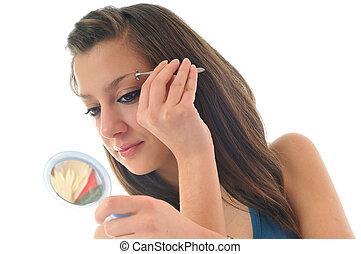 eye brow beauty treatment - young girl cosmetic beauty ...