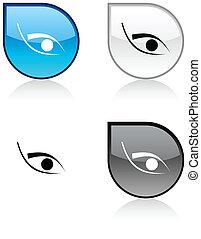 Eye button. - Eye glossy drop vibrant buttons.