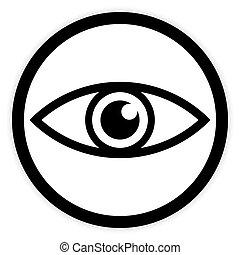 Eye button on white.