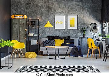 eye-catching, amarela, detalhes, e, sofá