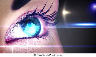 Eye changing colours with lights - Digital animation of Eye...