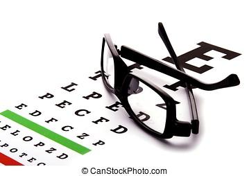 Eye Chart - An eye chart with a black frame eyeglasses.