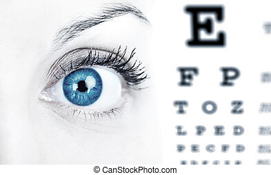 Woman eye aand a chart. Eye care