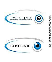 eye clinic sign on white background