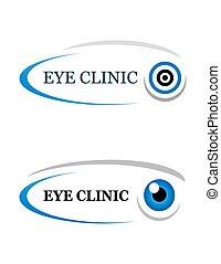 eye clinic sign on white background