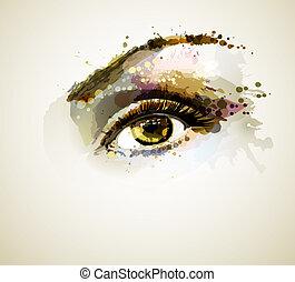 eye  - Beautiful eye forming by blots
