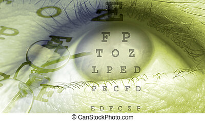 eye close up template design in green color