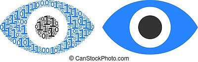 Eye Collage of Binary Digits