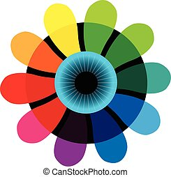 Eye colorful flower shutter logo
