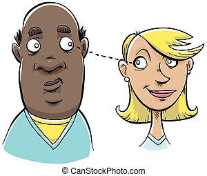 A man and a woman make eye contact.