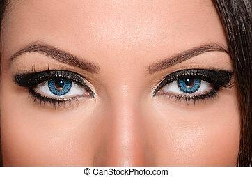 Eye contact - Beautiful girl having intimate eye contact ...