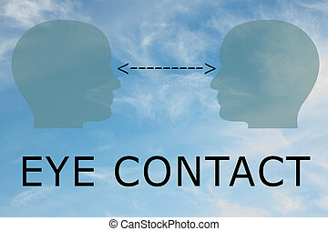 EYE CONTACT concept - Render illustration of two head ...