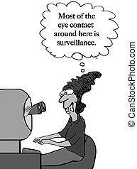 Eye contact is surveillance - A stressed worker is being ...