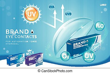 Eye contacts ads template, UV blocking contact lenses. ...