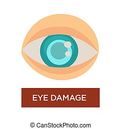 Eye damage diabetes symptom blurred pupil isolated eyeball