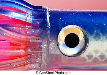 Eye detail, fishing big game soft lure, pink, red, blue...
