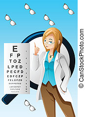 A vector illustration of eye doctor