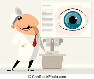 Eye doctor in clinic