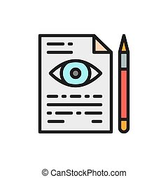 Eye doctor prescription flat color line icon. - Vector eye ...