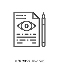 Eye doctor prescription line icon.