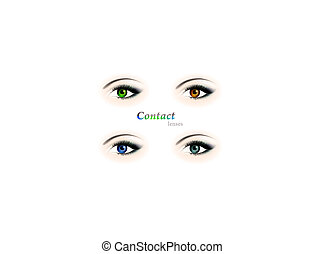 eye - four different colour eyes with contact lenses: brown,...