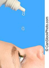eye drops - putting eye drops into dry eyes